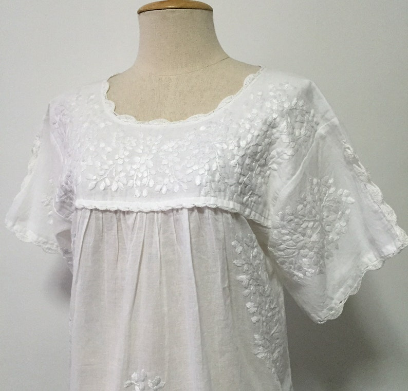 aef7af1babc17 Embroidered Mexican Blouse Cotton Top In White Peasant Top