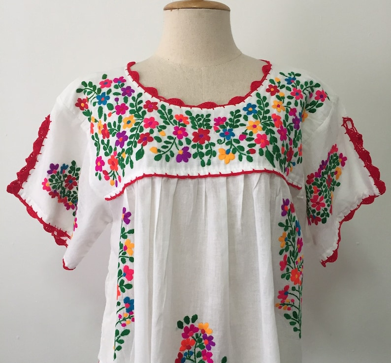 4a20b56b3dbed Hand Embroidered Blouse Cotton Top Mexican Style Boho Blouse