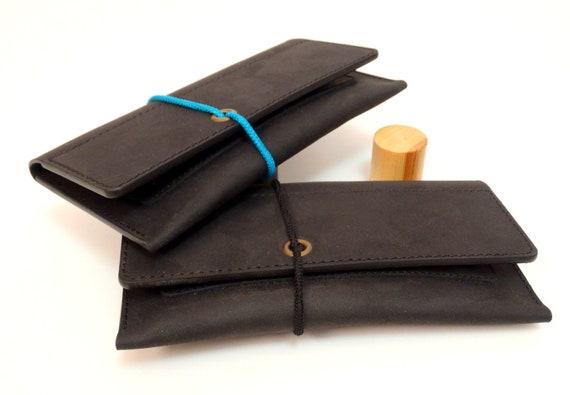 Tabakbeutel Leder Tabaktasche Für Drehtabak Drehtabaktasche Echtes Rindleder Schwarz Leder Tobacco Pouch Leather Handmade Zigarettenetuis