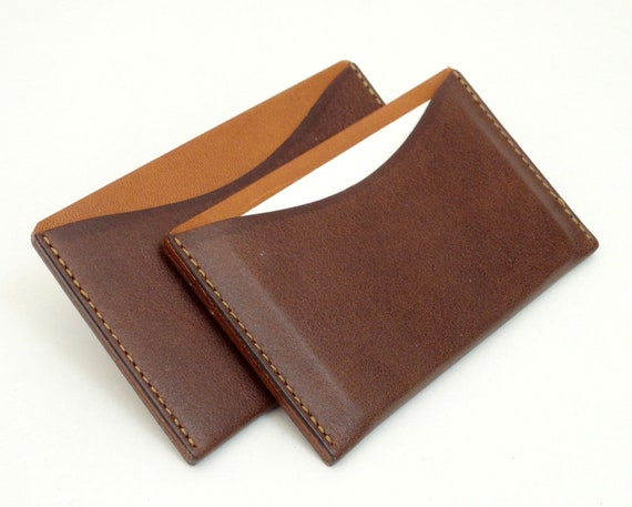 Card Work Business Card Holder Leather Case For Business Cards And Credit Cards Cognac Brown