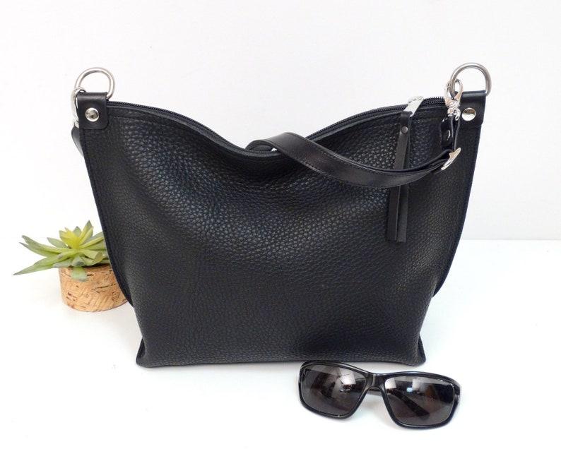 115024c40c085 Schwarze Ledertasche Damen Schultertasche Frauen Handtasche