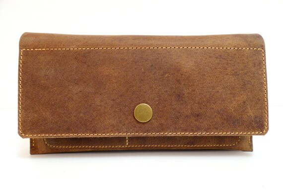 Portemonnaie Damen Geldbeutel Leder Geldbörse Geldbeutel Brieftasche Frauen Natur Leder Handmade Leather Wallet Women Purse Brown