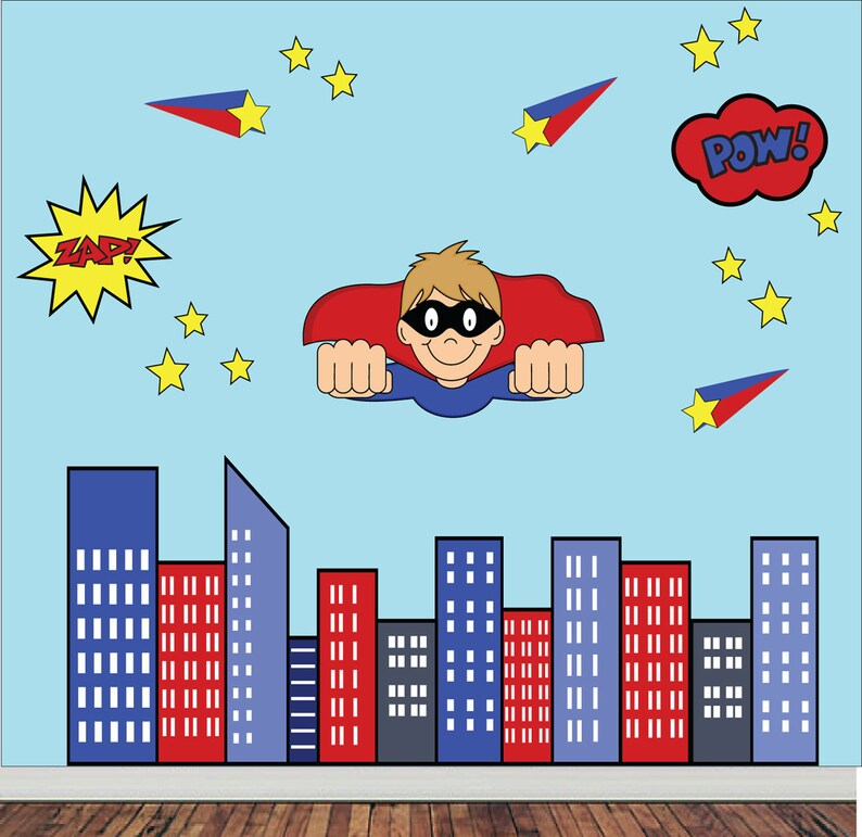 REUSABLE Superhero Wall Decal extra large Childrens Fabric Wall Decal