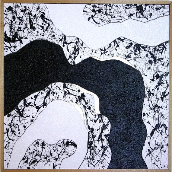 Minimaliste Art Noir Et Blanc Abstrait Peinture Murale œuvre Or Abstrait Moderne Contemporain Art Mural Cadre Bois Naturel Décoration Murale