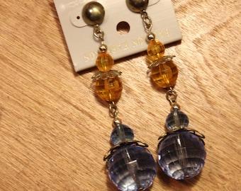 Vintage Blue/Yellow Sphered Pendant Earrings, item #103