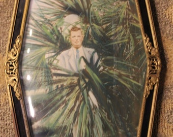 Vintage 1930's-Era Convex-Style Glass Gold-Plated Frame