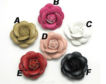 4.5cm Leather flower ponytail holder hair Pin,Faux Leather Flower Hair Clip,PU Leather Camellia Shape Hair Art craftingt,6 colors available