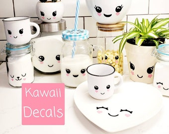 Set of 6 Kawaii Face Decals. 3 sizes available . Cute marshmallow faces. Decals only.
