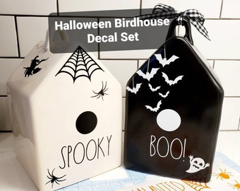 Rae Dunn Halloween Birdhouse decorating decal set.  Free Shipping. DECALS ONLY -birdhouses not included.