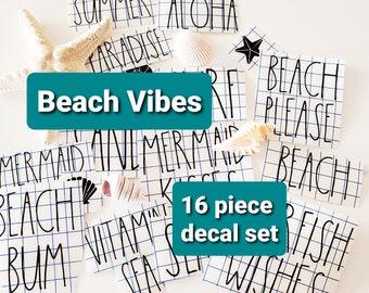 Beach Vibes 16 Decal Set Full Sheet of Beach/Ocean Themed Rae Dunn Inspired Decals Free Shipping