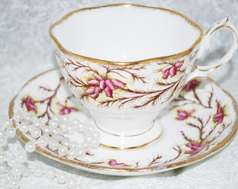 ROYAL ALBERT  Heather Bell Bone China Tea Cup and Saucer / Vintage Tea Party / Collectable