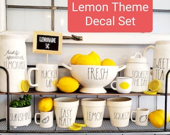 LEMON  Themed Rae Dunn Inspired Decal Set.  Free Shipping. Decals Only Ceramics Not Included