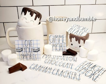 S'mores Themed Rae Dunn Inspired Decals - Mugs not included- Free Domestic Shipping