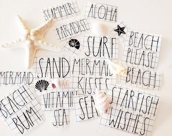 Beach Vibes Custom Beach/Ocean Themed Rae Dunn Inspired Decals Free Shipping