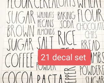 21 Piece Pantry Complete Set  - Rae Dunn Decals - Free Shipping