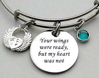 "Stainless Steel ""Your Wings Were Ready But My Heart Was Not "", Personalize, Angel Wing Baby Feet Heart, Miscarriage, Loss, Memorial Bangle"
