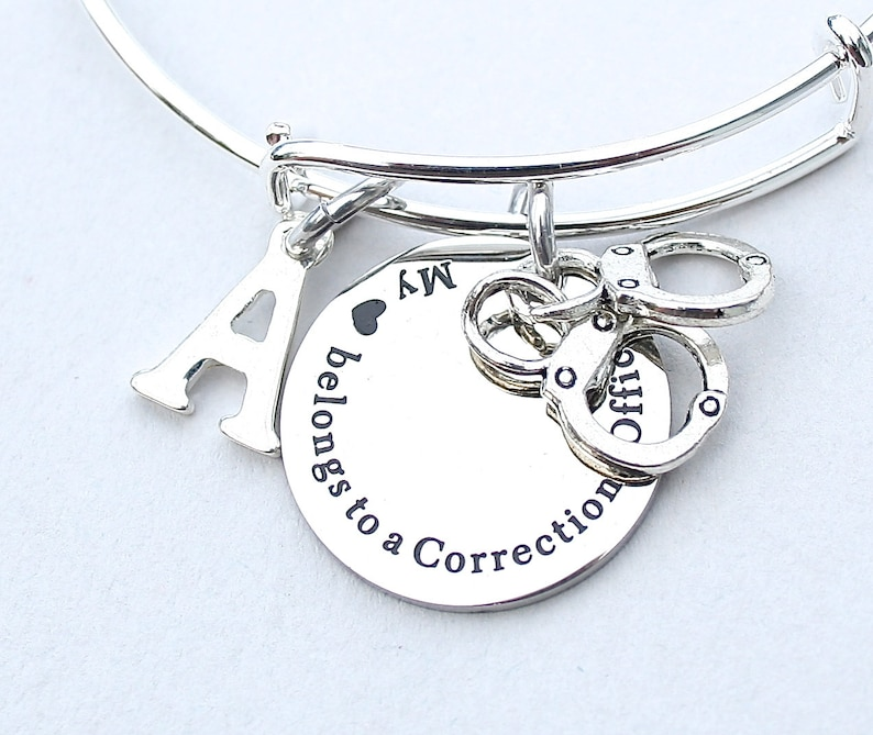 Personalized Charm Bangle Guard, My Heart Belongs To A Corrections Officer Stainless Steel Charm Initial Gift For Her Handcuffs