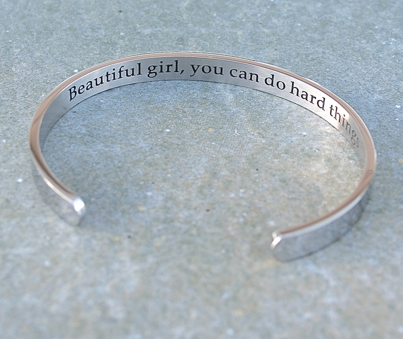 Ready To Ship Self Esteem C287 Comfortable Fit Stainless Steel Cuff Bracelet You Can Do Hard Things Beautiful Girl Encouragement