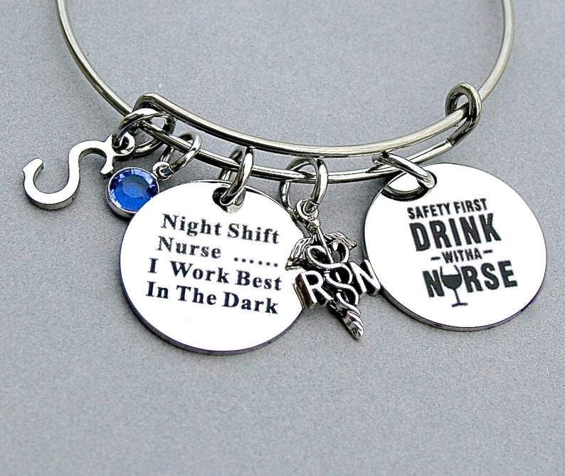 I Work Best In The Dark RN Caduceus Registered NurseSafety First Drink With A Nurse  Stainless Steel Engraved Disc,Night Shift Nurse .