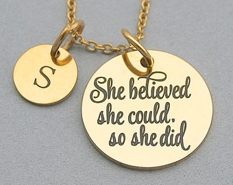 "Gold Stainless Steel Charm Bangle  "" She Believed She Could So She Did "", Graduation Gift, Personalize, Gift For Her , Gold Scripted Charm"