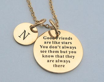 Good Friends Are Like Stars You Don't Alwats See Them But You Know That They Are Always There ,Gold Stainless Steel Charm Necklace
