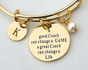 "Gold Stainless Steel "" A Good COACH Can Change A Game, A Great Coach Can Change A Life"",  Personalized Initial, Birthstone, Team Coach Gift"