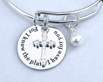 For I Know The plans I Have For You, Stainless Steel Scripted Charm, Faith, Jeremiah 29:11, Bible Verse, Swarovski Pearl,Cross,Baptism