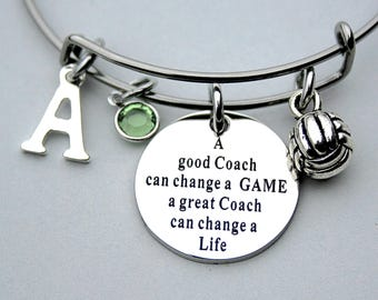 A Good COACH Can Change A Game, A Great Coach Can Change A Life, Volleyball Coach, Personalized Initial, Birthstone, Team Coach Gift