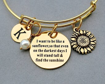 """SunFlower-"""" I Want To Be Like A Sunflower, So That Even On The Darkest Days, I will Stand Tall And Find The Sunshine"""" Gold  Stainless Bangle"""