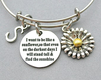 """SunFlower-"""" I Want To Be Like A Sunflower, So That Even On The Darkest Days, I will Stand Tall And Find The Sunshine"""" Bangle, Initial"""
