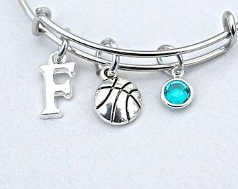 Basketball Bangle, Basketball Charm Bracelet, Personalized Initial,Birthstone, Monogram, Gift For Her, Team Gift 305