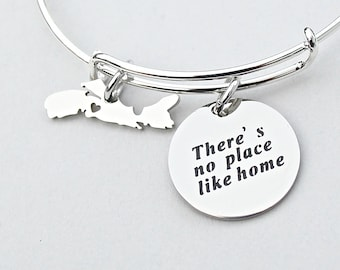 SALE - There's No Place Like Home Nova Scotia Charm Bangle, Stainless Steel, Province jewelry, Canada Day Gift, Gift For Her, Under 20, C1