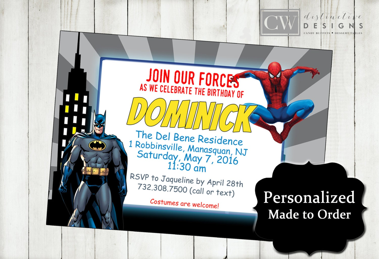 Batman Spiderman Birthday Invitations