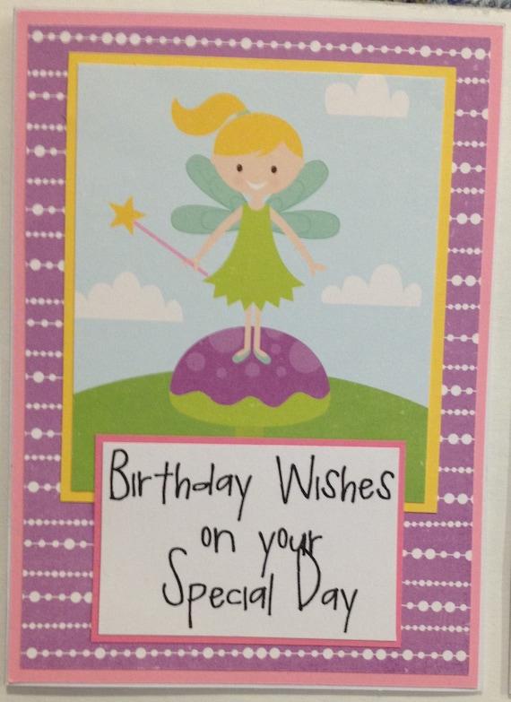 Fairy Birthday Card Birthday Card For Little Girl Little Etsy