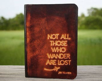 Leather Passport Cover Personalized Travel Wallet, Not All Those Who Wander Are Lost, Travel Gift Passport Holder, Not All Who Wander