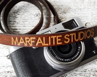 Personalized Camera Strap Handmade of Genuine Leather for dslr and slr Skinny Cameras, Custom Text Thin Camera Strap, Photographer Gift