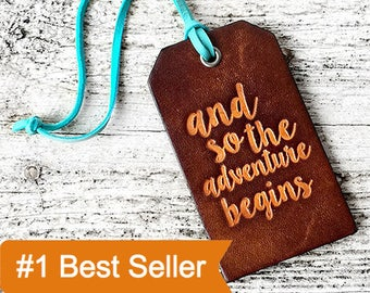 Luggage Tag Grad Gift, Leather Travel Gift Wedding Gift, And So The Adventure Begins Leather Graduation Gift, Travel Quote, For the Couple