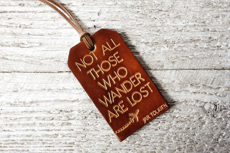 Leather Luggage Tag Stocking Stuffer Travel Gift Not All image 0