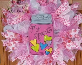 White & Pink, Valentine, Jar of Hearts, Love wreath