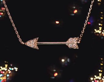 Small 14k Gold Diamond Arrow Necklace