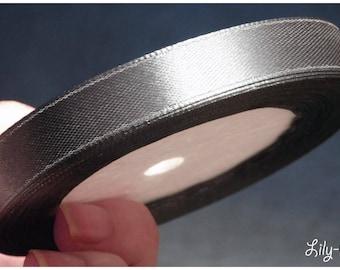 1 meter of Ribbon in dark grey satin 12mm