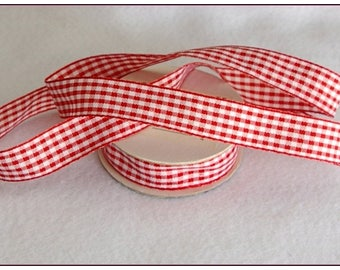 1 meter of 15mm red gingham Ribbon