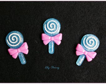 Cabochon resin delicious blue lollipop lollipop x 1
