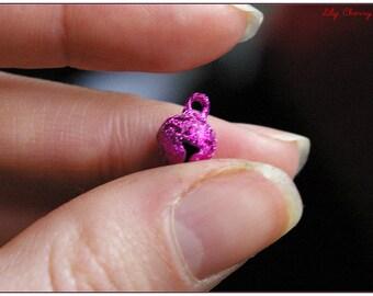Sparkling bells 8mm pink FUCHSIA x 1 x 1 christmas Christmas granite bells charm