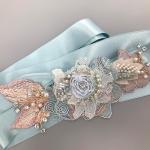 Crystal Pearl Beaded Lace Bridal Sash  Beach Glass Floral Wedding Sash  Vintage Chic Wedding Belt  Wedding Dress Sash  Pearl Flower Sash