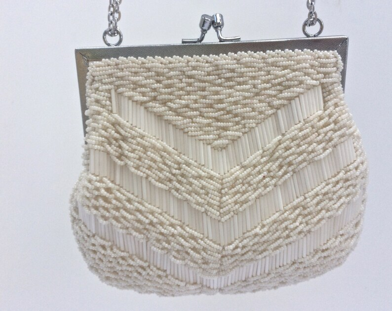 Ivory Pearl Vintage Beaded Evening Bag Madrid Bridal Purse