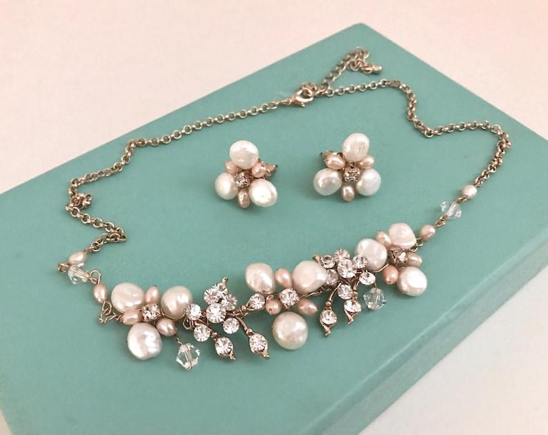 df03fa2d6 Freshwater Pearl & Swarovski Crystal Wedding Necklace Earrings   Etsy