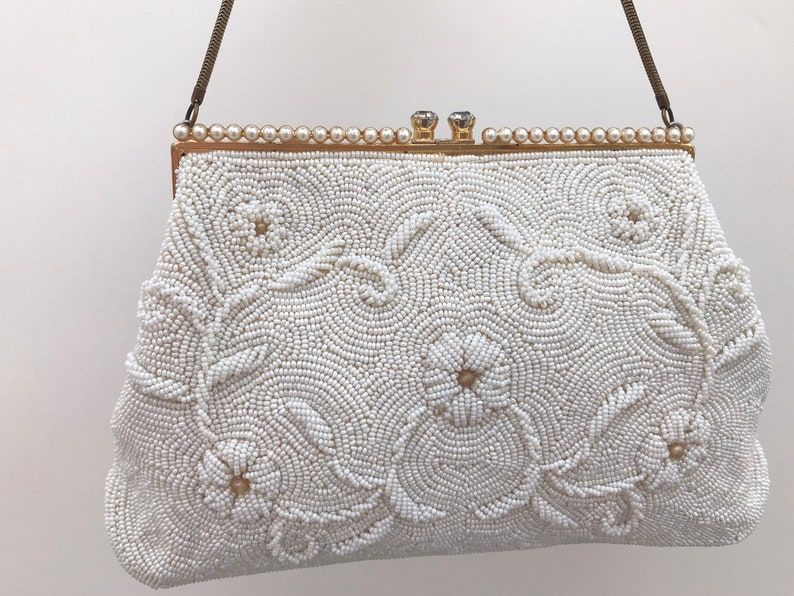 Vintage Beaded Evening Bag   Pearl Bridal Purse   Ivory    bb558fe4880d1