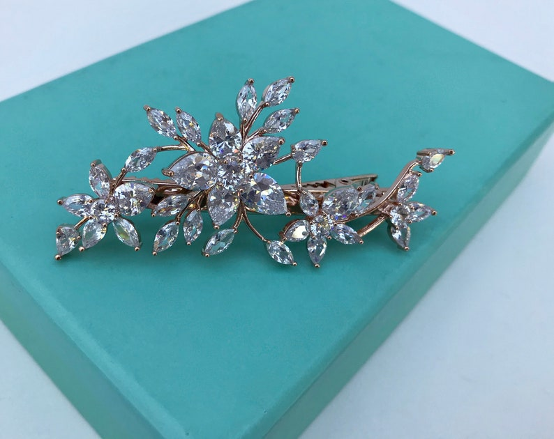 Rose Gold Crystal Floral Bridal Hair Clip   Wedding Hair Clip   Crystal Flower Leaf Hair Clip  Bridal Headpiece  Wedding Hairpiece