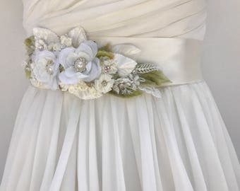 Ivory Floral And Lace Bridal Sash-Wedding Sash, With Swarovski Crystals And Pearls, Flower Sash, Bridal Belt